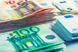 foto of money  - Several hundred euro  banknotes stacked by value - JPG