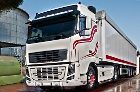 foto of tank truck  - truck with long trailer trucking and logistics