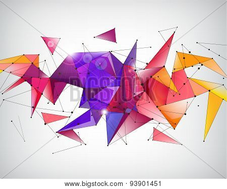 vector abstract crystal 3d faceted geometric origami rainbow background