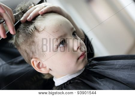 Barber Cutting Hair Of A Boy