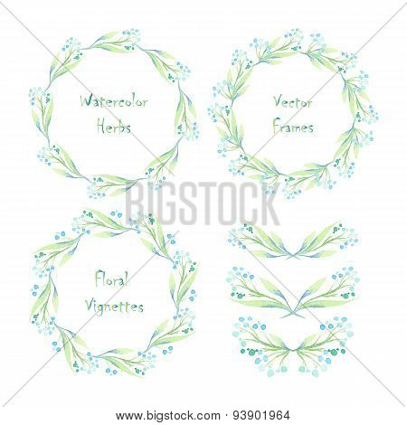 Set Of Round Frames And Vignettes Made Of Watercolor Branches And Drops.