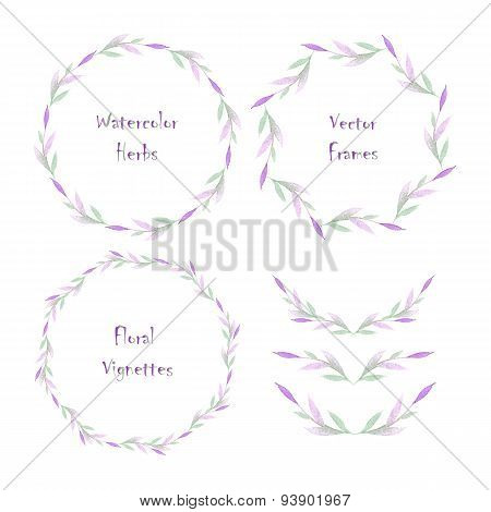 Set Of Round Frames And Vignettes Made Of Watercolor Branches