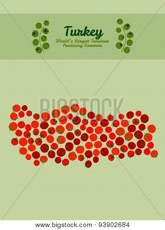 Turkey map made made out red tomatoes. Tomato background. Poster.