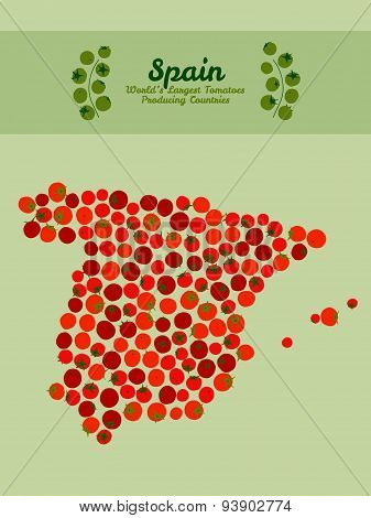 Spain map. Tomato poster or card. Illustration. Red tomato postcard.