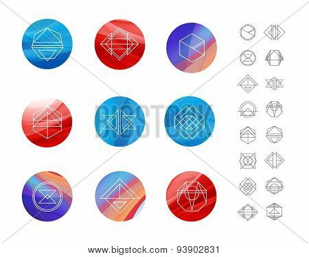 Set of colored wavy silk background circles with geometric shapes.