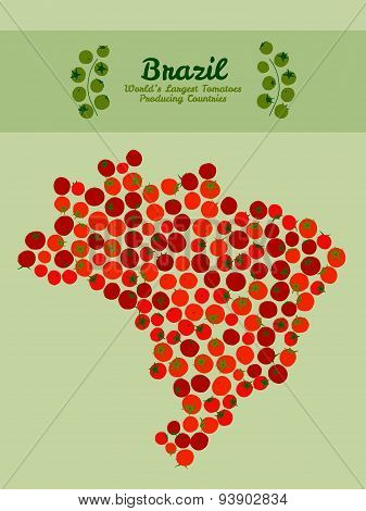 Brazil map made made out red tomatoes. Tomato banner or invitation. Sticker.
