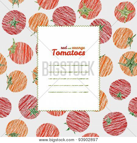 Text frame. Endless vegetable texture, repeating tomato background. Summer harvest backdrop.
