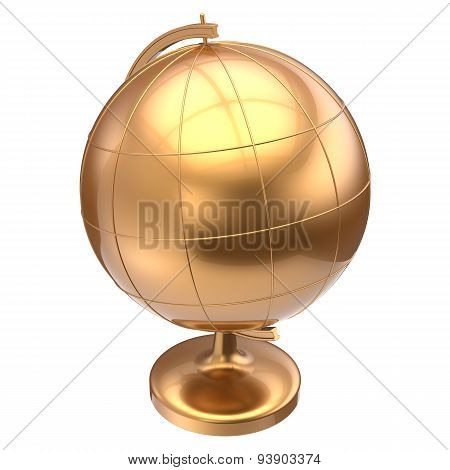 Golden Globe Blank Planet Earth Global Geography Education