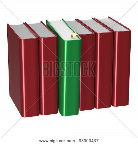 Books Row Blank Red One Green Selected Choosing Answer