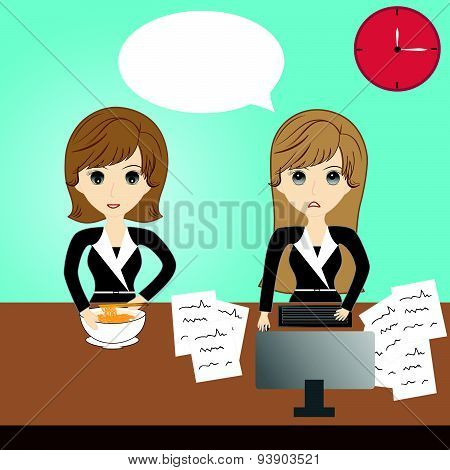 Business Woman Eating And Business Woman Working In The Office-01.eps