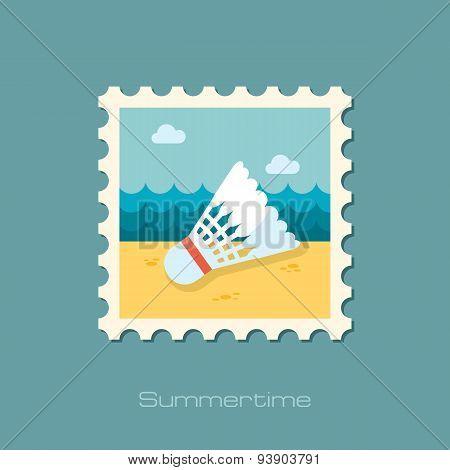 Shuttlecock For Badminton Sport Flat Stamp