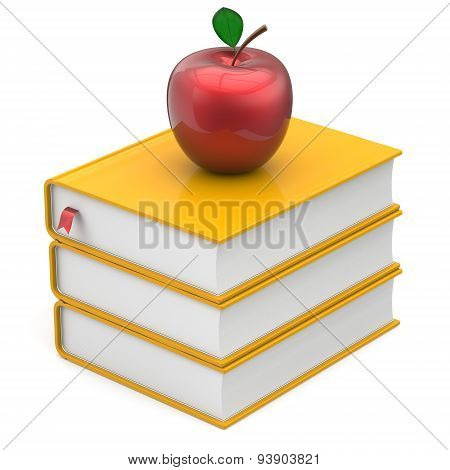 Books Yellow And Red Apple Bookmark Textbook Stack Icon