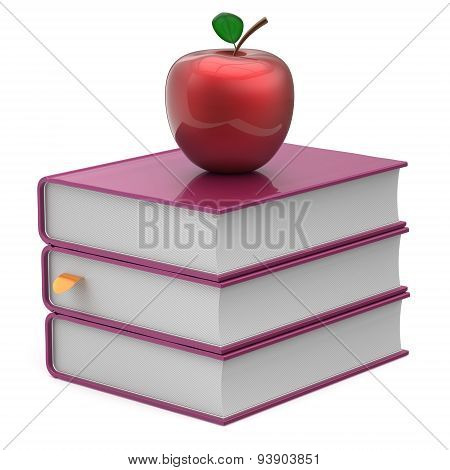 Books Purple And Attractive Apple Blank Textbooks Stack Icon