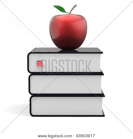 Books Three 3 Black And Red Apple Textbook Stack Icon