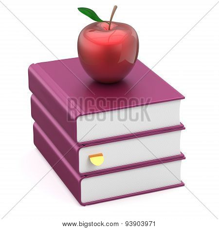 Books Blank Textbook Stack Purple Red Apple Wisdom Icon