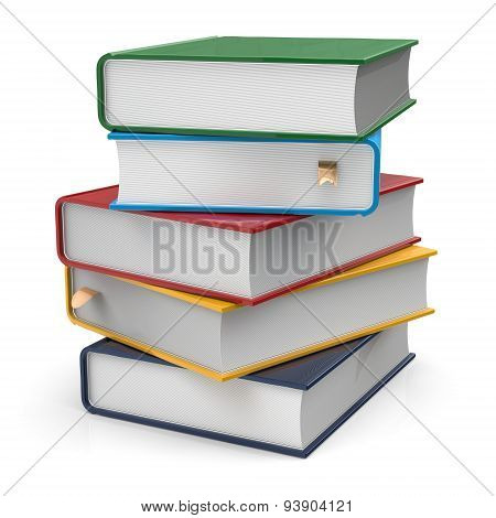 Books Textbooks Stack Five 5 Blank Covers Colorful Multicolor