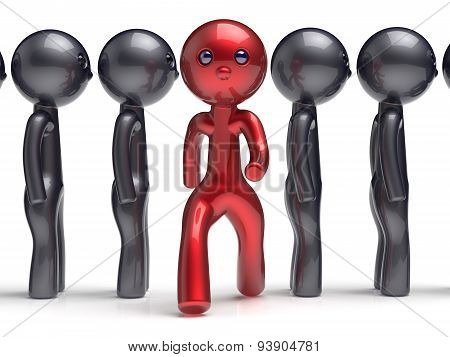 Stand Out From The Crowd Character Different People Red Black