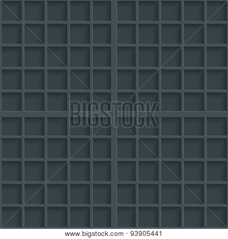 Dark gray graph paper. 3d seamless background. Vector EPS10.