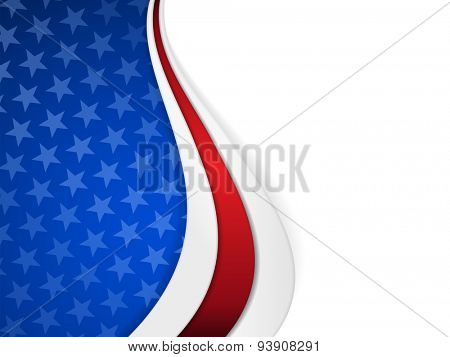 Patriotic background with wavy pattern and space for your text.Stars on dark blue background with wavy stripes in red and white make it a great backdrop for USA themes, like Independent Day, etc.