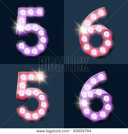 Festive pink and purple vector lamp alphabet for party, cinema and other entertainment. Numbers 5 6