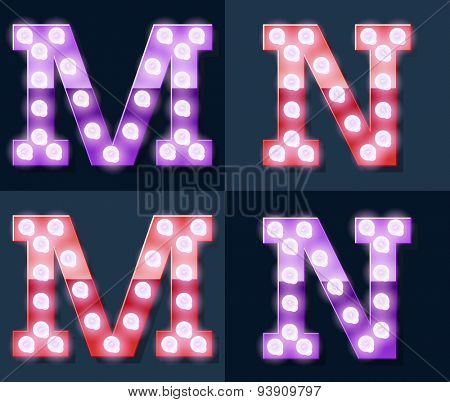 Festive pink and purple vector lamp alphabet for party, cinema and other entertainment. Letters M N