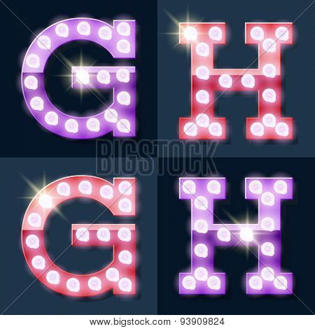 Festive pink and purple vector lamp alphabet for party, cinema and other entertainment. Letters G H