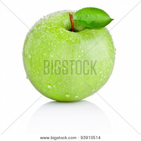 Green Apple With Leaf In Water Drops Isolated On White Background