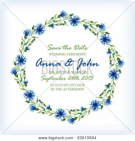 Wedding Invitation Design Template With Watercolor Floral Circular Frame