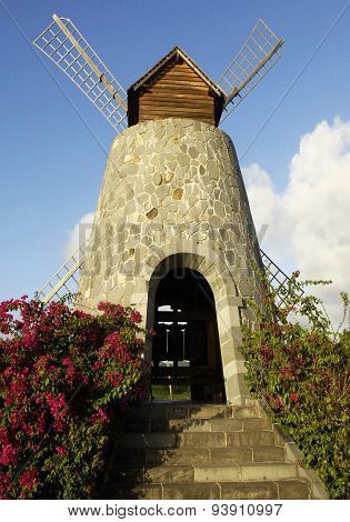 Picturesque Windmill In The 3 Rivieres Distillery Park In Martinique