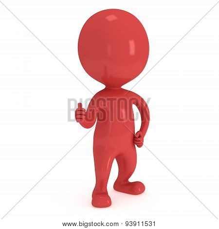 3D Red Man Showing Thumbs Up