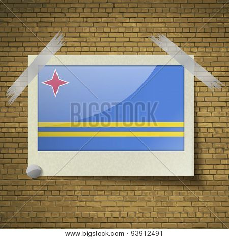 Flags Aruba At Frame On A Brick Background. Vector