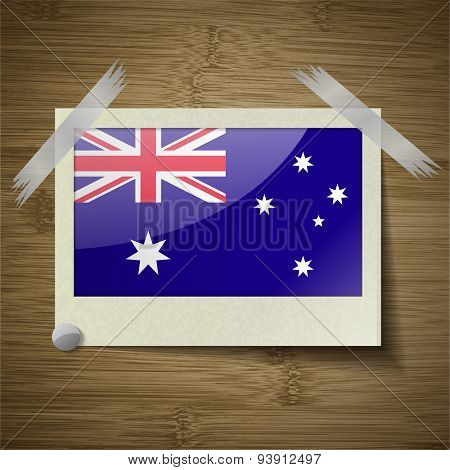 Flags Australia At Frame On Wooden Texture. Vector