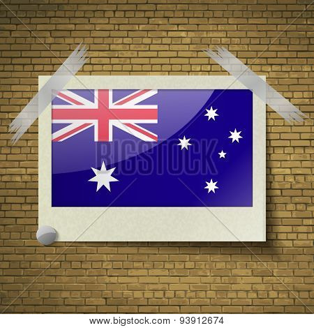 Flags Australia At Frame On A Brick Background. Vector