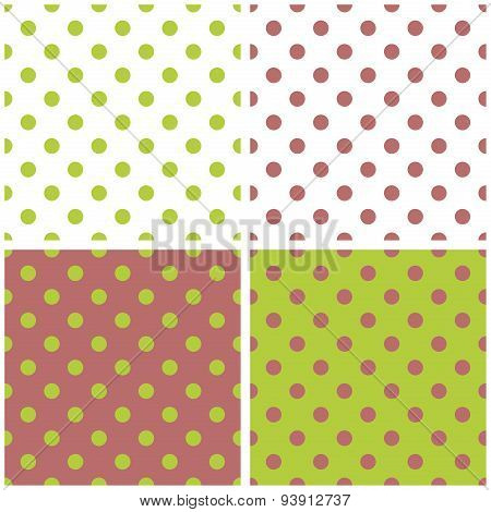Tile vector spring pattern set with green and brown polka dots on white, fresh spring green