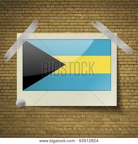 Flags Bahamas At Frame On A Brick Background. Vector