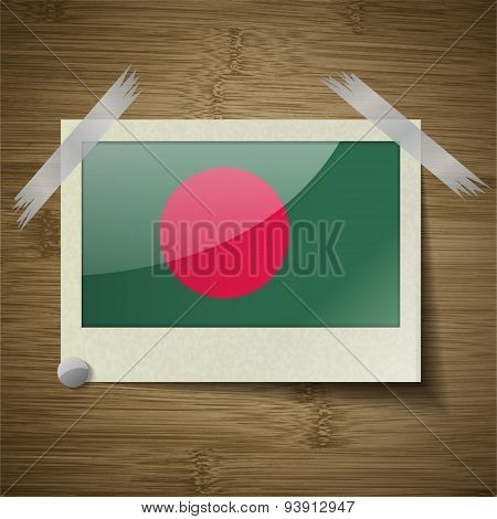 Flags Bangladesh At Frame On Wooden Texture. Vector