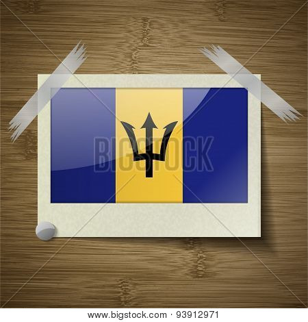 Flags Barbados At Frame On Wooden Texture. Vector