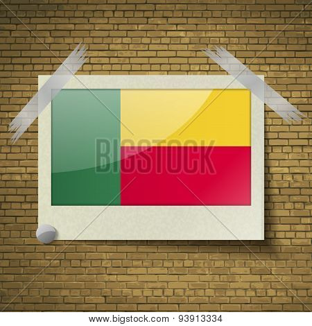 Flags Benin At Frame On A Brick Background. Vector