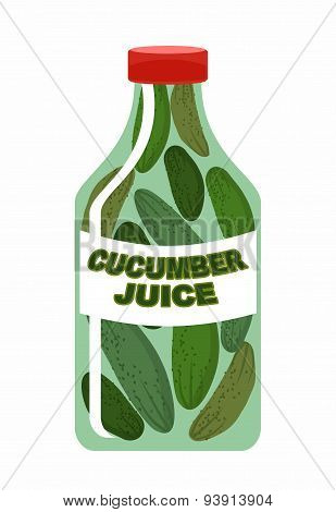 Cucumber juice. Juice from fresh vegetables. Cucumbers in a transparent bottle. Vitamin drink for he