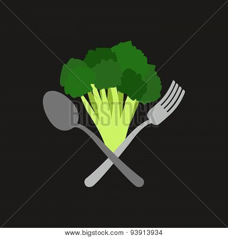 Vegetarian logo. Broccoli with a fork and spoon. Vector emblem
