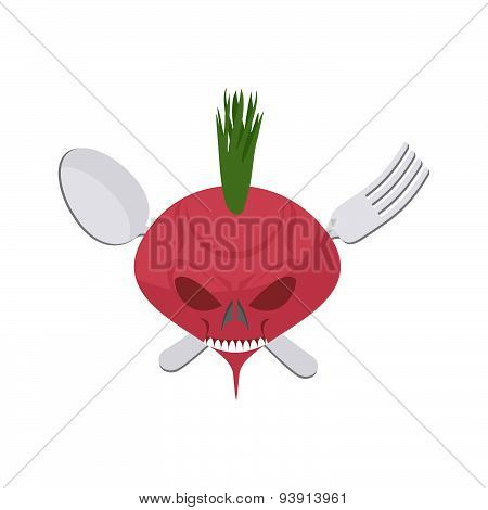 Veggie logo. Scary beet with eyes and teeth. Fork and spoon. Vector emblem