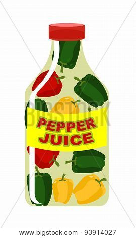 Pepper juice. Juice from fresh vegetables. Colored peppers in a transparent bottle. Vitamin drink fo