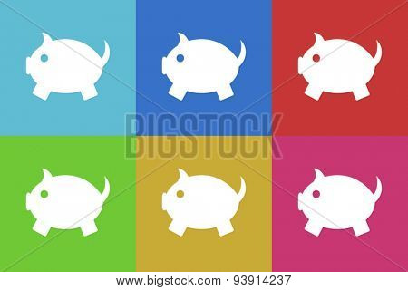 piggy bank flat design modern vector icons set for web and mobile app