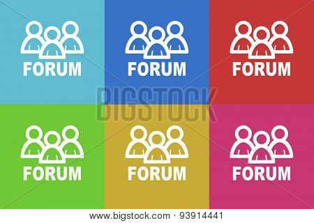forum flat design modern vector icons set for web and mobile app