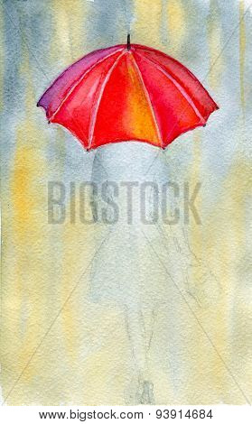 woman and rain