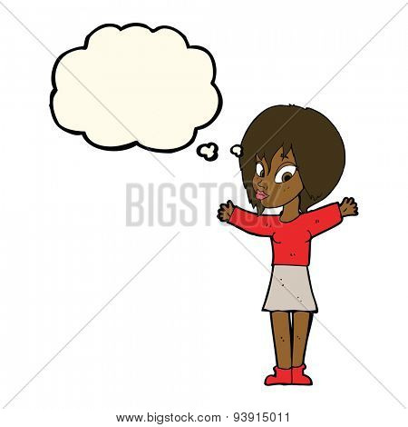 cartoon woman with open arms with thought bubble