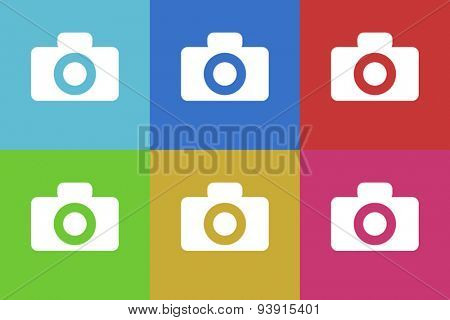 camera flat design modern vector icons set for web and mobile app