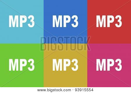 mp3 flat design modern vector icons set for web and mobile app