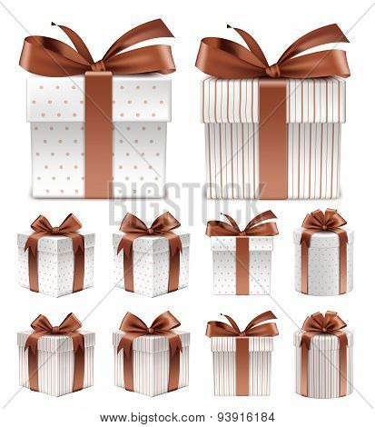 Collection of Realistic Colorful Brown Pattern Gift Box