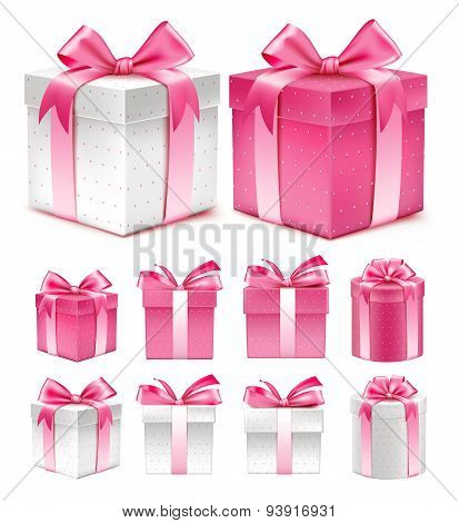Collection of Realistic 3D Colorful Pink Pattern Gift Box